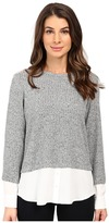 Calvin Klein Long Sleeve Marled Twofer Top