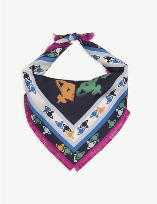 Vivienne Westwood Orb logo-print silk scarf