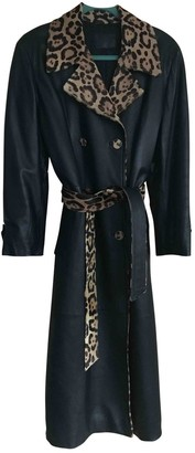 Fendi Black Leather Trench Coat for Women Vintage
