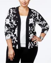 Belldini Plus Size Jacquard-Knit Floral Cardigan