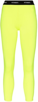 Vetements Fluorescent Logo Waistband Leggings
