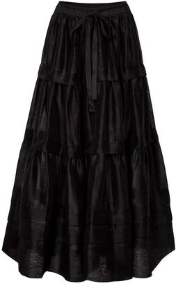 Lee Mathews Canary linen and silk maxi skirt