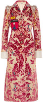 Miu Miu Appliquéd Embellished Devoré Silk And Cotton-blend Coat - Pink