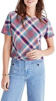 Madewell Women's Plaid Tie Back Top
