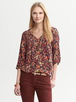 Banana Republic Floral Pleat-Neck Blouse