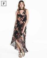 White House Black Market Petite Choker Neck Floral Maxi Dress