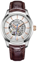 Rotary Silver 'skeleton' Brown Leather Watch Gs05032/06