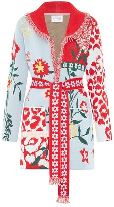 Hayley Menzies Blue and Red Enchanted Leopard Short Cardigan - xl | cotton | blue | Red & Blue - Blue/Blue