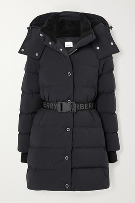 Burberry + Net Sustain Belted Hooded Quilted Shell Down Coat - Black