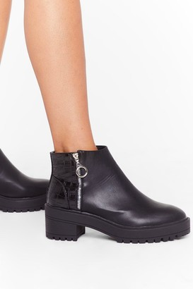 Nasty Gal Womens Our Zips Are Sealed Croc Cleated Boots - Black