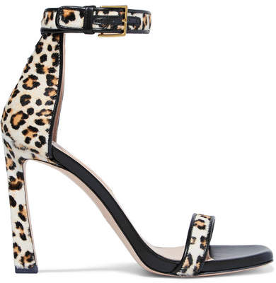 Stuart Weitzman Squarenudist Leather-trimmed Leopard-print Calf Hair Sandals