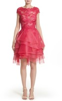 Monique Lhuillier Women's Tiered Chantilly Lace Dress