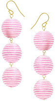 Taolei Pink Striped Ball Drop Earrings