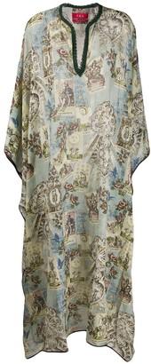 F.R.S For Restless Sleepers Chiffon Geometric Kaftan Dress