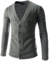 TheLees (RTNC08) Mens Slim Fit Basic Knitwear Sensual 5 Button Casual Cardigan Sweater GRAY