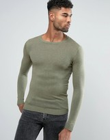 Asos Muscle Fit Cotton Sweater In Khaki