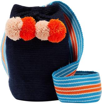 Sophie Anderson Lulu Pompom-embellished Woven Bucket Bag