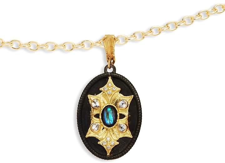 Armenta Women's Pavé White Diamond, White Sapphire, Rainbow Moonstone, Sterling Silver and 18K Gold Pendant Necklace, 0.03 TCW