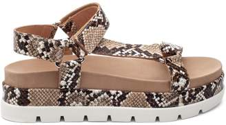 J/Slides Blakley Snakeskin-Embossed Leather Flatform Sandals