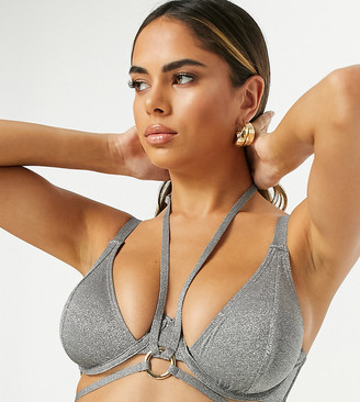 Wolfwhistle Wolf & Whistle Fuller Bust Exclusive bust caged triangle bikini top in metallic silver