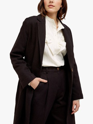 People Tree Lynne Jacquard Longline Coat, Black