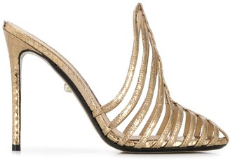 ALEVÌ Milano Metallic Strappy 120mm Leather Sandals