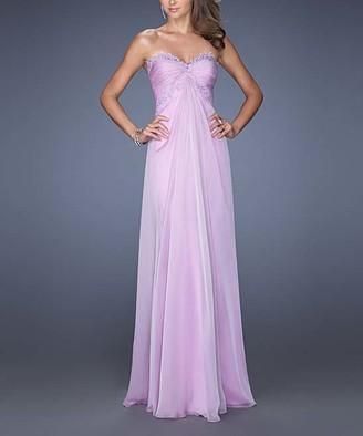 La Femme Women's Special Occasion Dresses Lavender - Lavender Rhinestone-Accent Lace-Trim Strapless Gown - Women