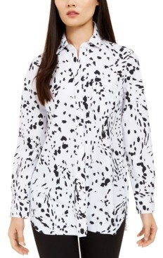 Alfani Printed Long sleeve knit button front top, Created for Macy's