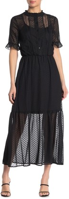 Kensie Swiss Dot Elbow Sleeve Maxi Dress