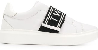 Twin-Set Contrasting Logo Strap Sneakers