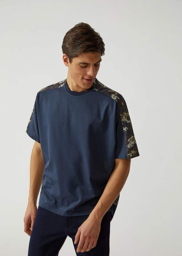 Emporio Armani T-Shirt In Fabric And Satin With Collection Motif