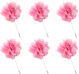 L'vow Flower Brooch for Wedding Handmade Lapel Pin for Suit Pack of 6