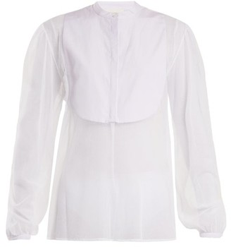 Isa Arfen Striped-bib Tulle Shirt - White Multi
