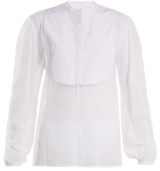 Isa Arfen Striped-bib Tulle Shirt - Womens - White Multi