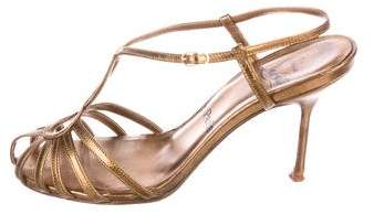 Christian Louboutin Metallic Multistrap Sandals
