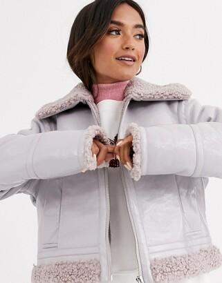 ASOS DESIGN vinyl faux shearling biker jacket