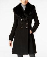 Ivanka Trump Faux-Fur-Trim A-Line Walker Coat