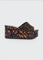 Fendi FF Logo Wedge Slide Sandals