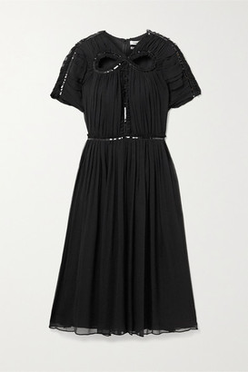 Jason Wu Cutout Sequin-embellished Silk-georgette Dress - Black