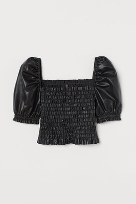 H&M Faux Leather Blouse
