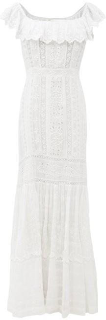 LoveShackFancy Niko Broderie-anglaise Cotton-voile Dress - White