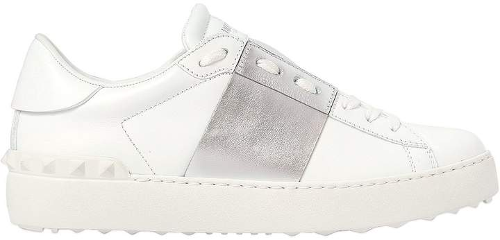Valentino Open Leather Sneakers With Metallic Band