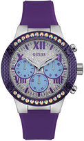 GUESS Women's Purple Silicone Strap Watch 44mm U0772L5