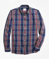 Brooks Brothers Indigo-Dyed Tartan Cotton Twill Sport Shirt