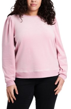 1 STATE Trendy Plus Size Puff-Sleeve Velour Top