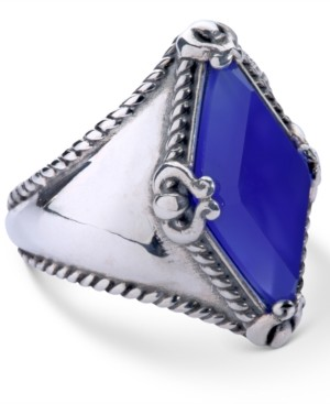 Carolyn Pollack Blue Agate (10x20mm) Kite Ring in Sterling Silver