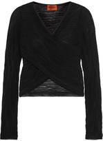 Missoni Wrap-effect Crochet-knit Cotton-blend Top - Black