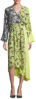 Diane von Furstenberg Colorblock Floral-Print Silk Kimono Dress, Yellow