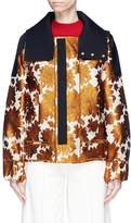 MS MIN Hooded stripe floral jacquard jacket