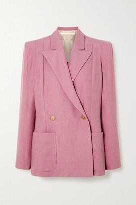 ANNA MASON Sharp Double-breasted Linen Blazer - Blush